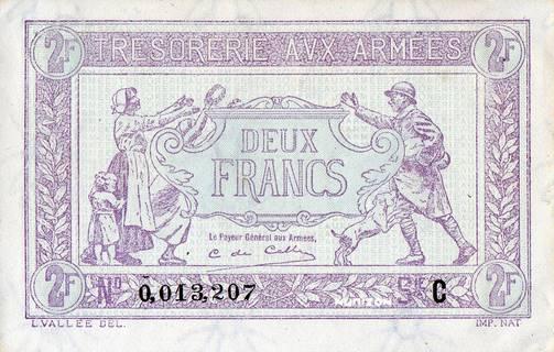 2 francs Trésorerie aux armées Type 1917 Pick##M3