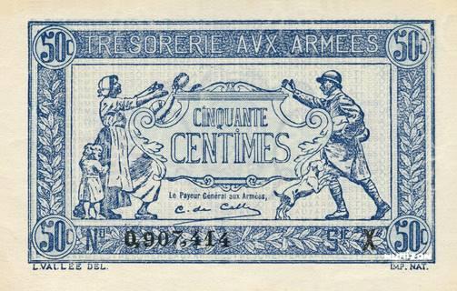 50 centimes Trésorerie aux armées Type 1917-1919 Pick##M1/#M4
