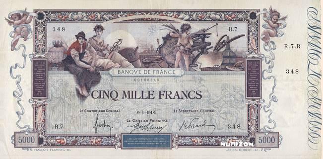 5000 francs Type 1918 Flameng Pick##76