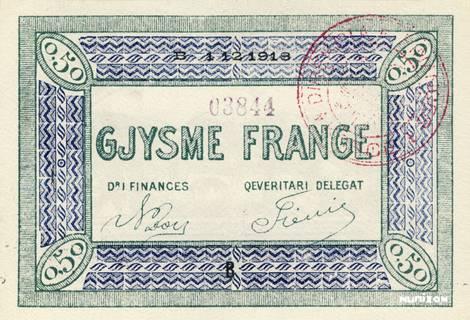 0,50 franc Korçë Type 1918 Pick##147/149/151