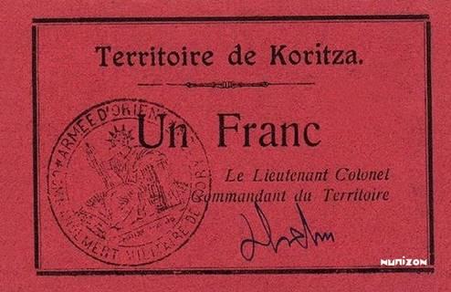1 franc Korçë Type 1920 Pick##154