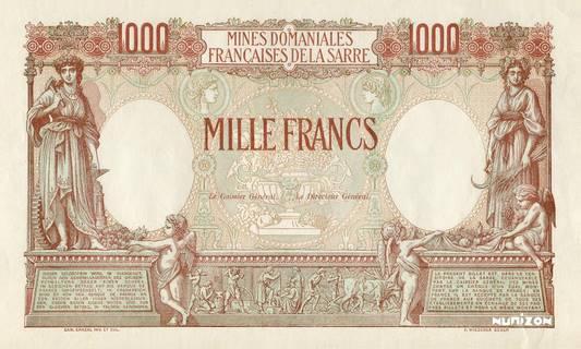 1000 francs Mines Domaniales de la Sarre Type 1920 essai Pick#NA