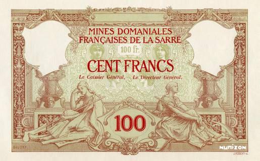 100 francs Mines Domaniales de la Sarre Type 1920 essai Pick#NA