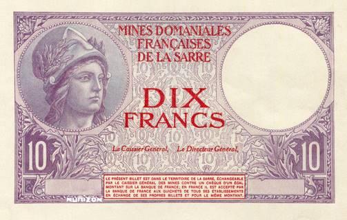 10 francs Mines Domaniales de la Sarre Type 1920 essai Pick#NA