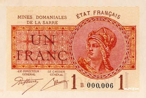 1 franc Mines Domaniales de la Sarre Type 1920 Pick##2
