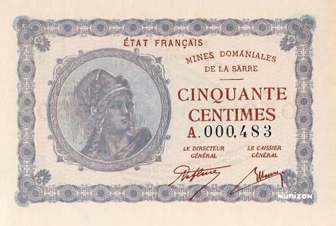 50 centimes Mines Domaniales de la Sarre Type 1920 Pick##1
