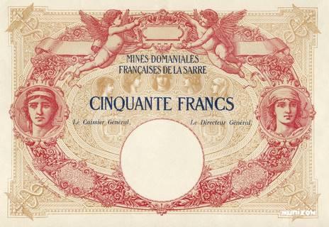 50 francs Mines Domaniales de la Sarre Type 1920 essai Pick#NA