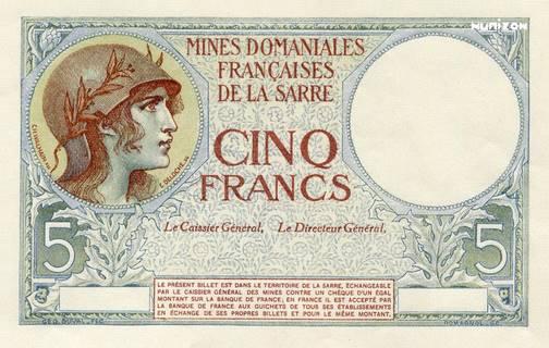 5 francs Mines Domaniales de la Sarre Type 1920 essai Pick#NA