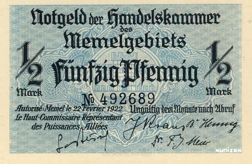 50 pfennig Memel Type 1922 Pick##1