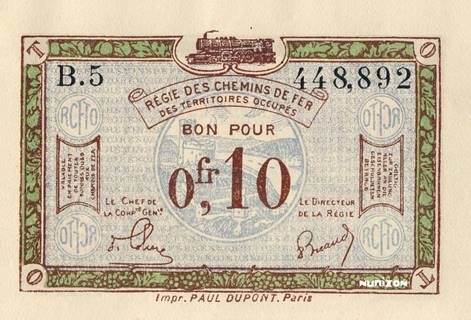 10 centimes RCFTO Type 1923 Pick##R2