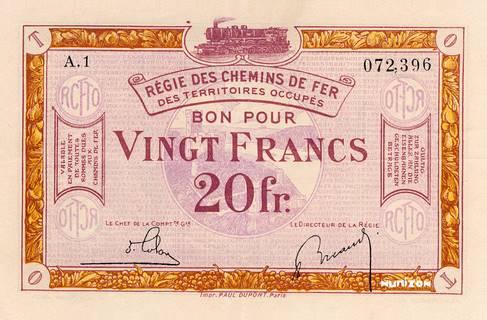 20 francs RCFTO Type 1923 Pick##R8