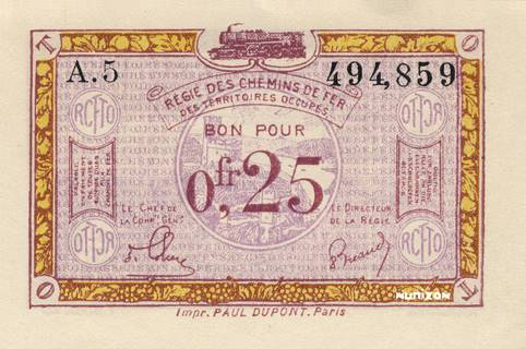 25 centimes RCFTO Type 1923 Pick##R3