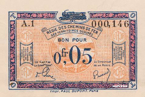 5 centimes RCFTO Type 1923 Pick##R1