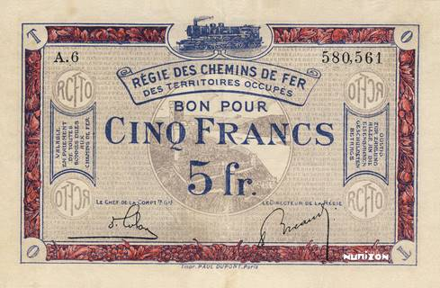 5 francs RCFTO Type 1923 Pick##R6