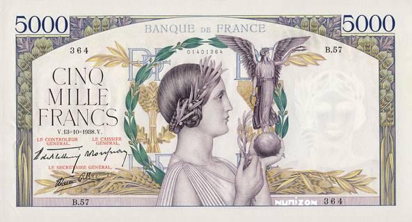 5000 francs Type 1934 Victoire Pick##82/#91/#97