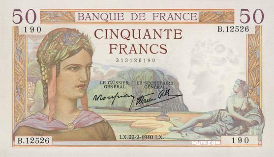 50 francs Type 1933 Cérès Pick##81/#85