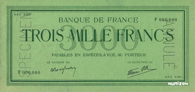 "3000 francs Type 1938 ""non émis"" Pick##104"