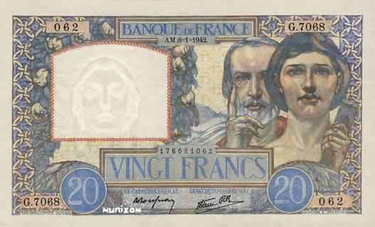 20 francs Type 1940 Travail et Science Pick##92