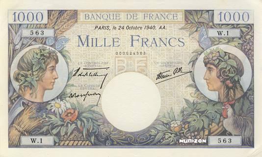 1000 francs Type 1940 Commerce et Industrie Pick##96