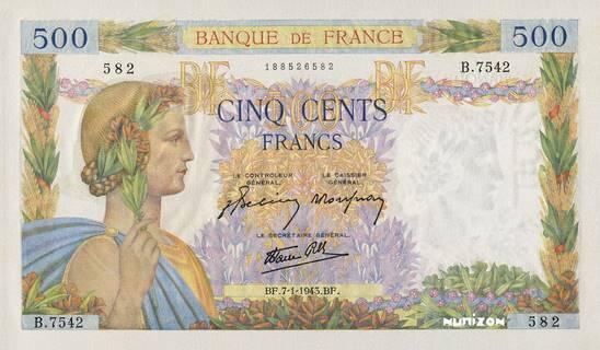 500 francs Type 1939 La Paix Pick##95