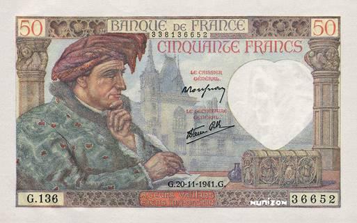 50 francs Type 1941 Jacques Coeur Pick##93