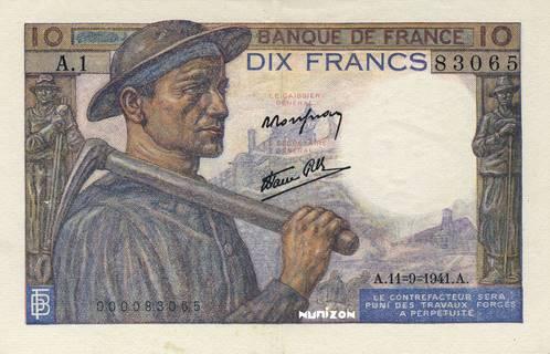 10 francs Type 1941 Mineur Pick##99