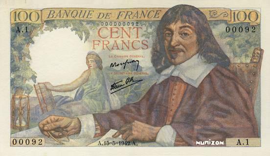 100 francs Type 1942 Descartes Pick##101