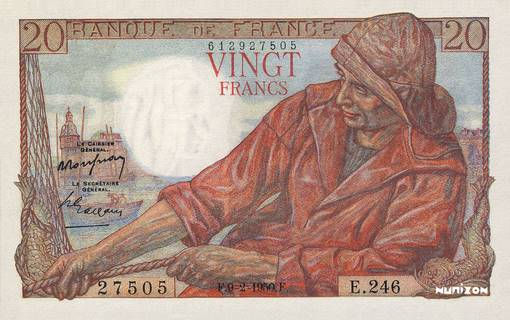 20 francs Type 1942 Pêcheur Pick##100