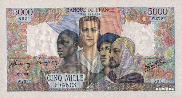 5000 francs Type 1942 Empire français Pick##103