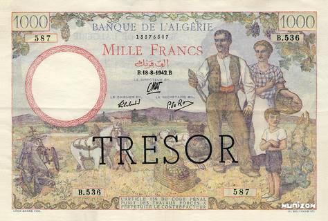 """1000 francs Algérie surchargé """"Trésor"""" Type 1943 Pick##112"""