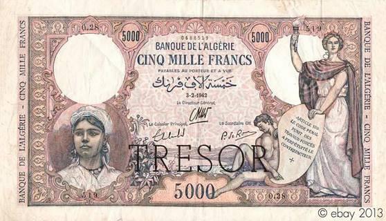 """5000 francs Algérie surchargé """"Trésor"""" Type 1943 Pick##113"""