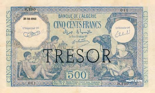 """500 francs Algérie surchargé """"Trésor"""" Type 1943 Pick##111"""
