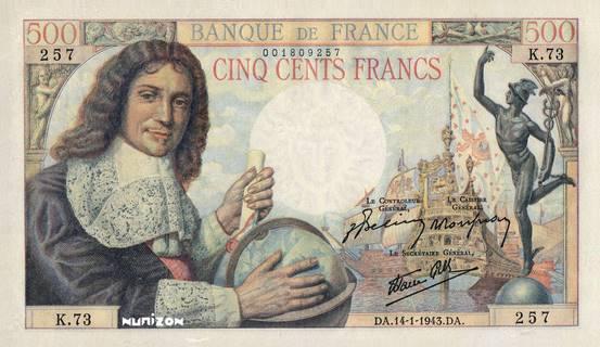 """500 francs Type 1943 Colbert """"réserve"""" Pick##101A"""