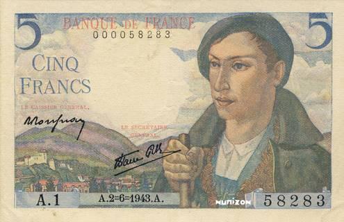 5 francs Type 1943 Berger pyrénéen Pick##98