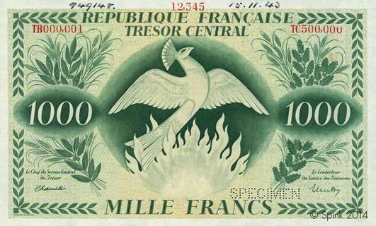 1000 francs Phoenix Type 1943 réserve Pick##108