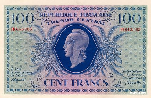100 francs Marianne Type 1943 Pick##105
