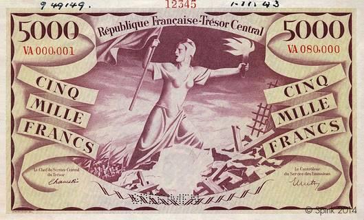 5000 francs Liberté Type 1943 non émis Pick##110