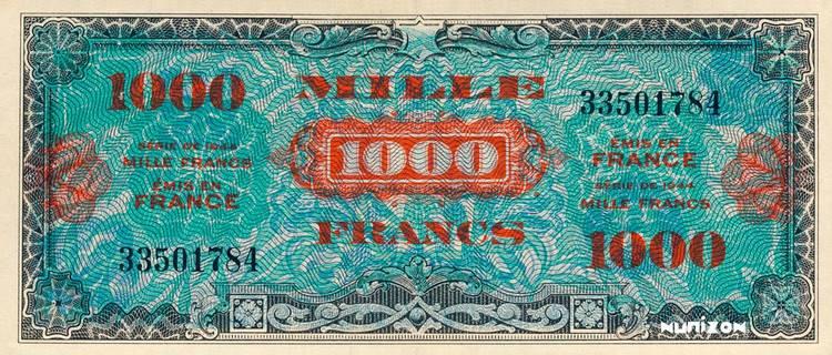 1000 francs Drapeau Type 1944 Pick##120