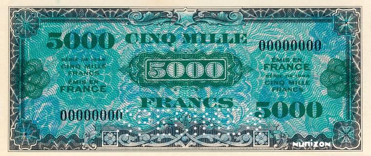 5000 francs Drapeau Type 1944 non émis Pick##121