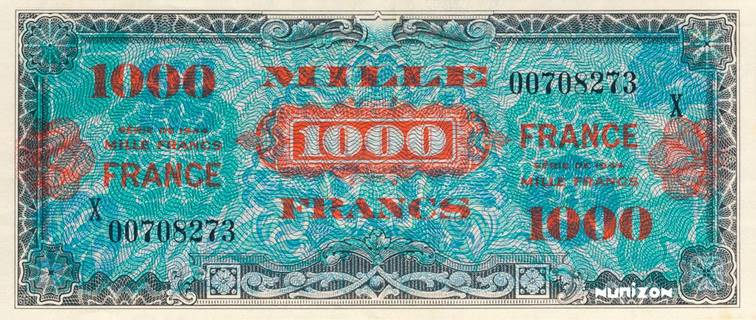 1000 francs Verso France Type 1945 Pick##125