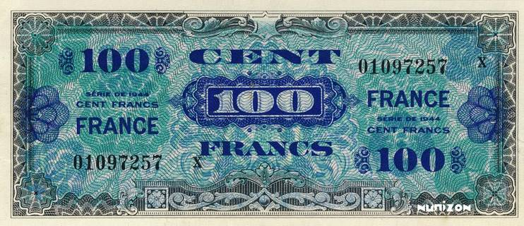 100 francs Verso France Type 1945 Pick##123