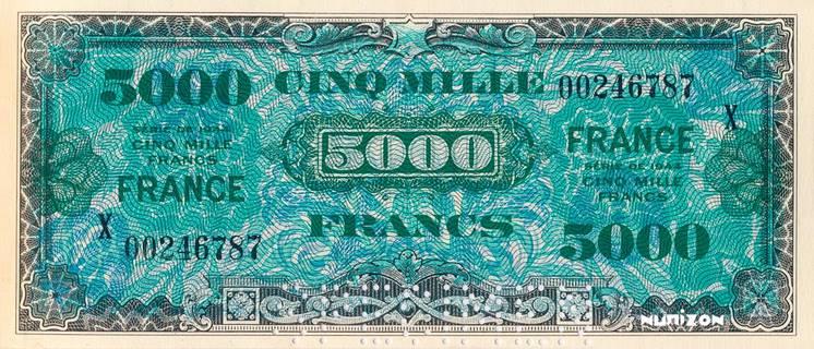 5000 francs verso France Type 1945 non émis Pick##126