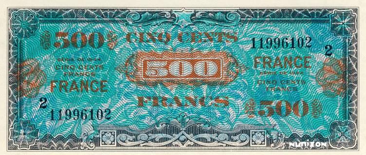 500 francs Verso France Type 1945 Pick##124