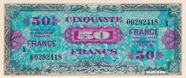 50 francs Verso France Type 1945 Pick##122