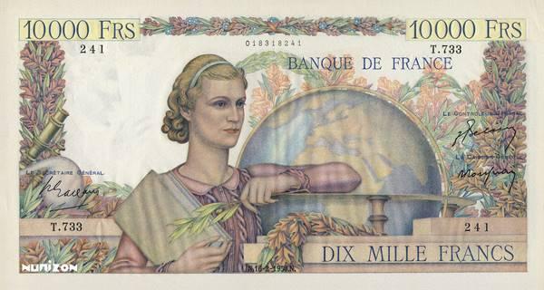 10000 francs Type 1945 Génie francais Pick##132