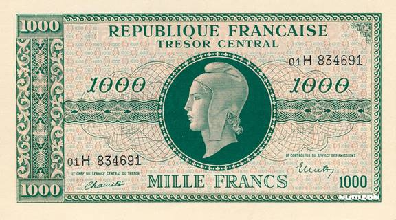 1000 francs Marianne Type 1945 Pick##107