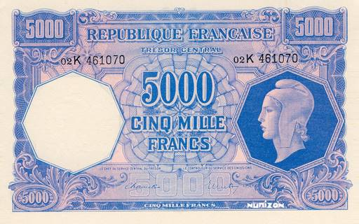 5000 francs Marianne Type 1945 Pick##109