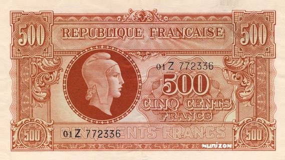 500 francs Marianne Type 1945 Pick##106