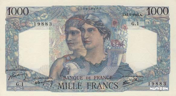 1000 francs Type 1945 Minerve et Hercule Pick##130