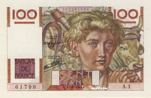100 francs Type 1945 Jeune paysan Pick##128